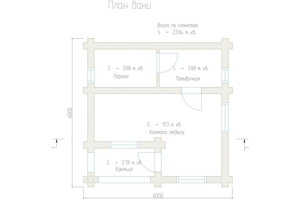 типовая планировка одноэтажной бани из бруса