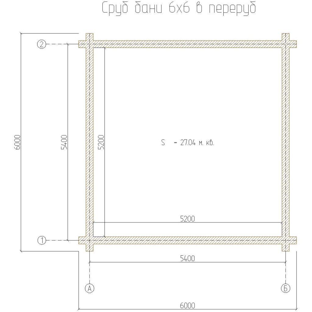 планировка сруба 6х6 с перерубом