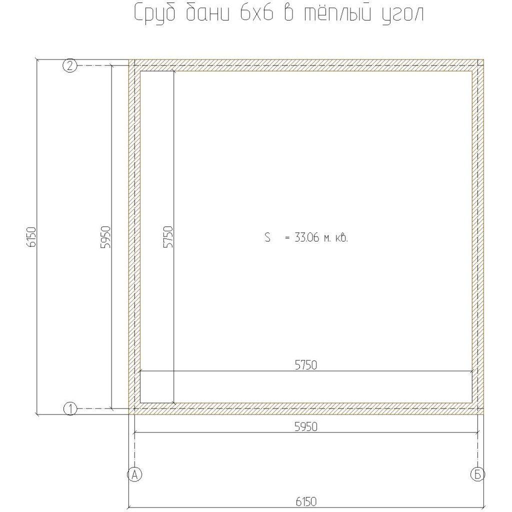 планировка сруба 6х6 в теплый угол