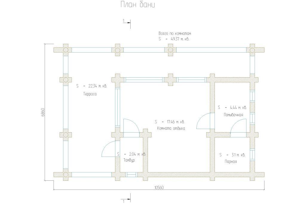Проект 299 баня 49м2 бревно 240