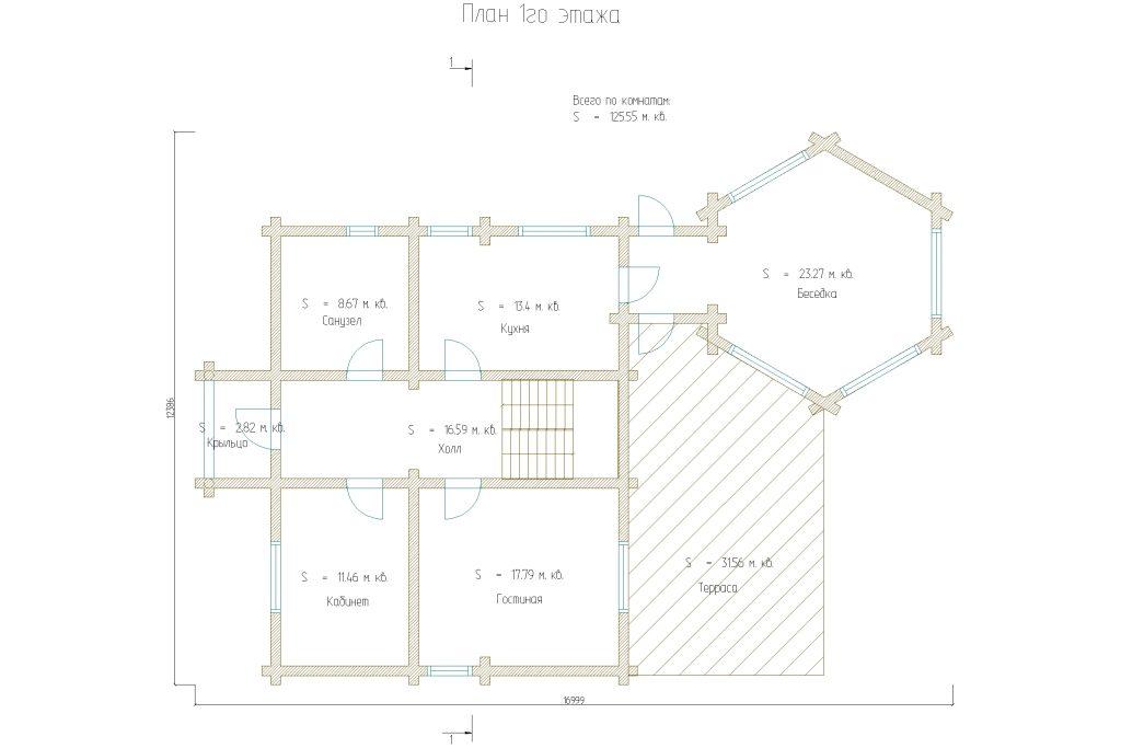 Проект 412 дом 196м2 бревно 220