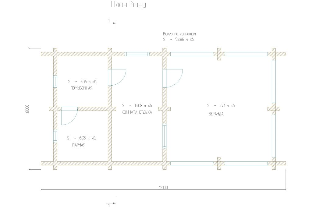 Проект 352 баня 53м2 брус 180х180