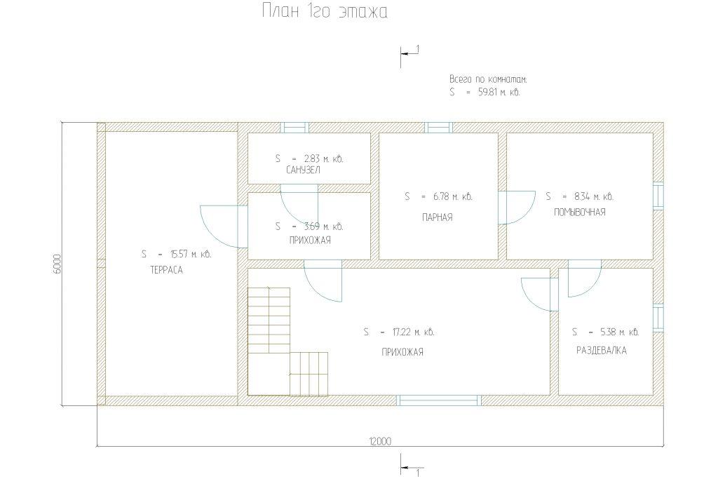 Проект 451 баня 122м2 брус 220х180