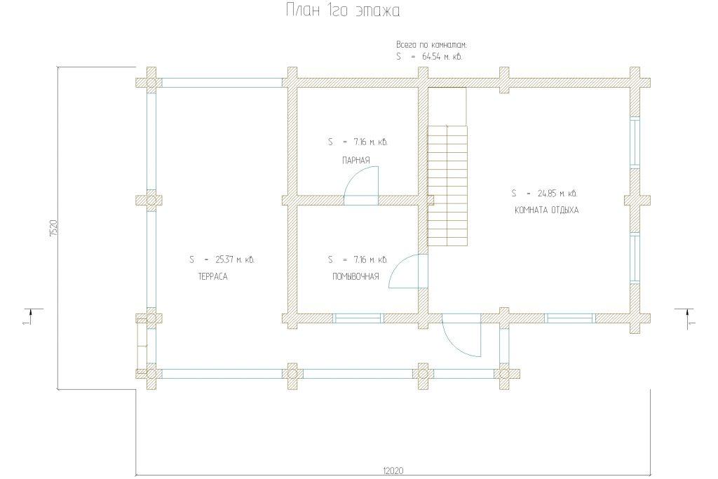 Проект 465 баня 80м2 бревно 220