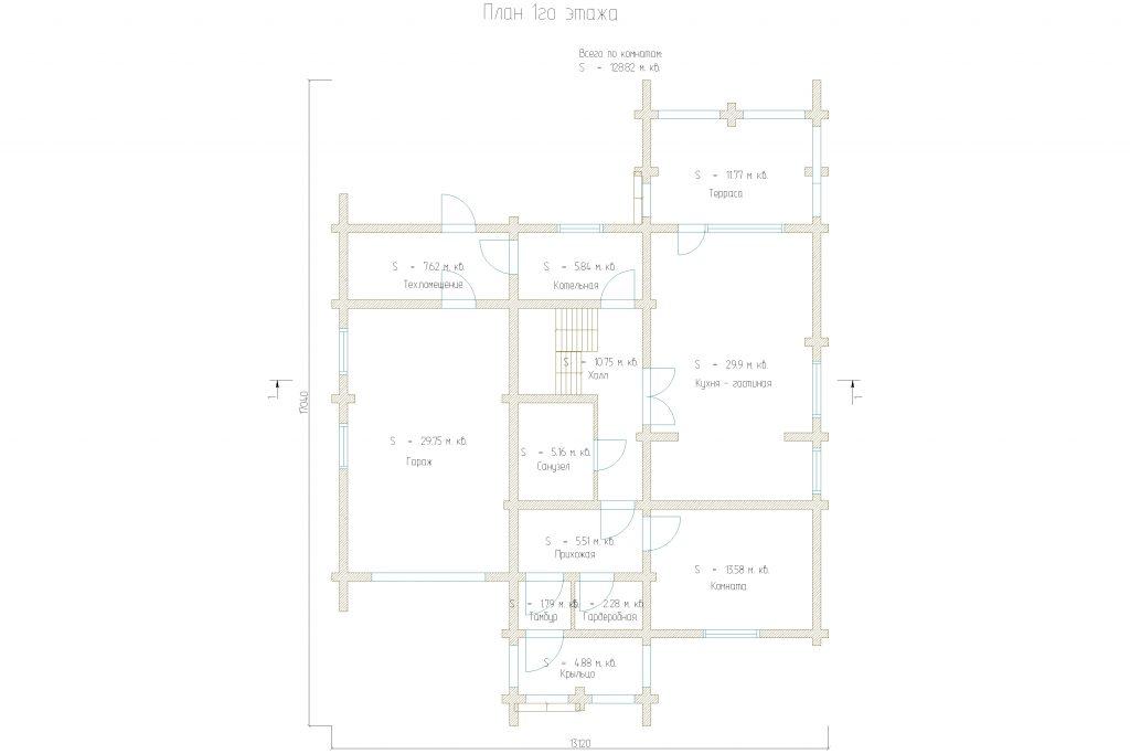 Проект 154 дом 203м2 бревно 220