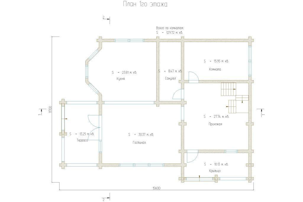 планировка двухэтажного дома на 220м2 из оцилиндрованного бревна