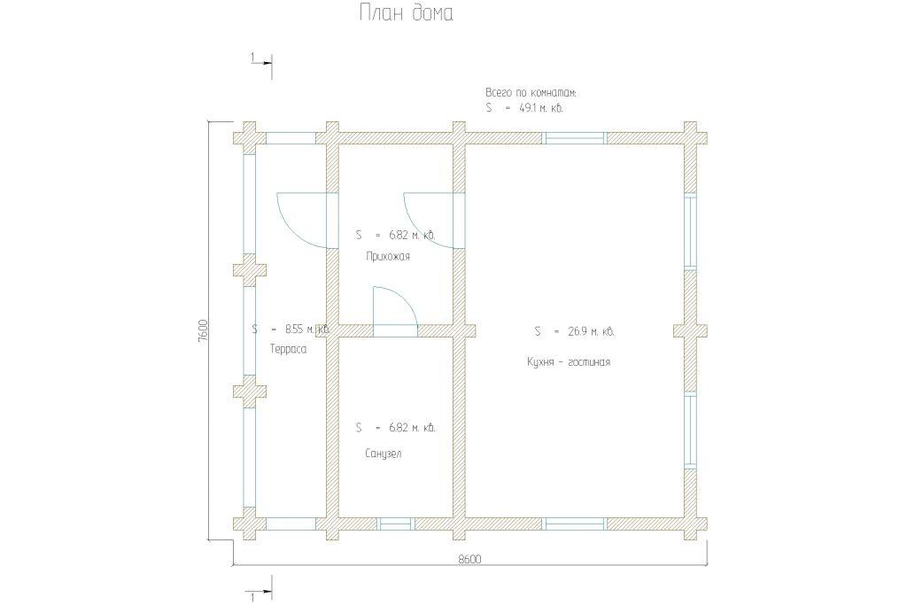 планировка одноэтажного дома на 40м2 из оцилиндрованного бревна 220мм