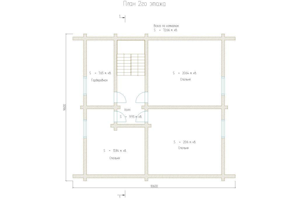 планировка двухэтажного дома с тремя спальнями бревно 200мм