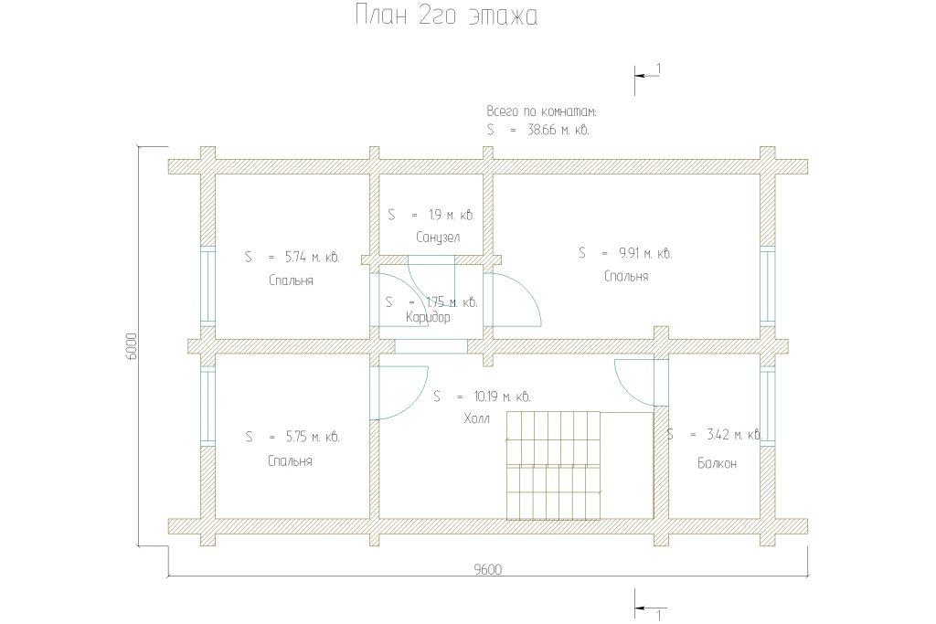 планировка двухэтажного дома из бруса