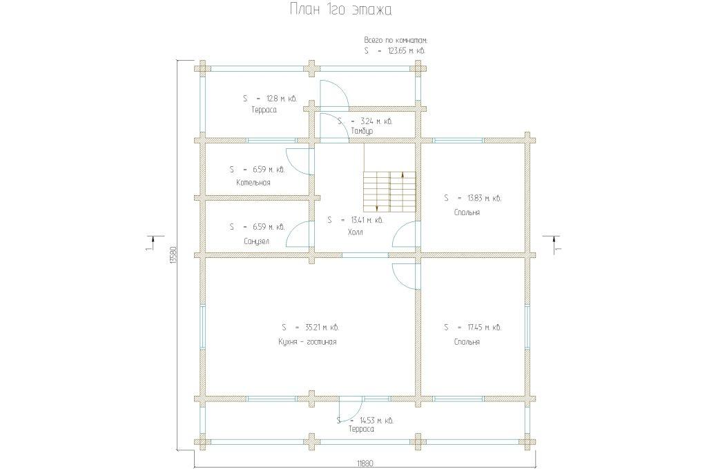 Проект 281 дом 237м2 брус 180х180