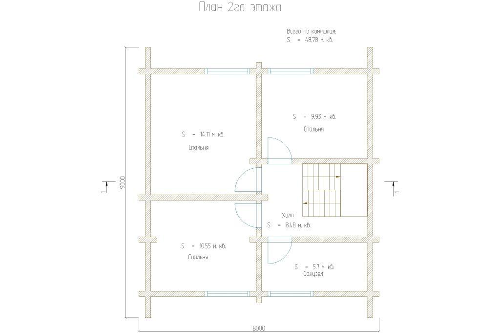 Проект 195 дом 97м2 брус 180х180