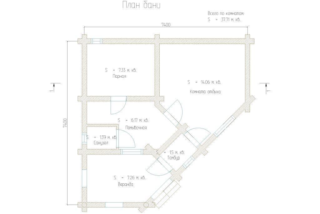 Проект 382 баня 38м2 бревно 220