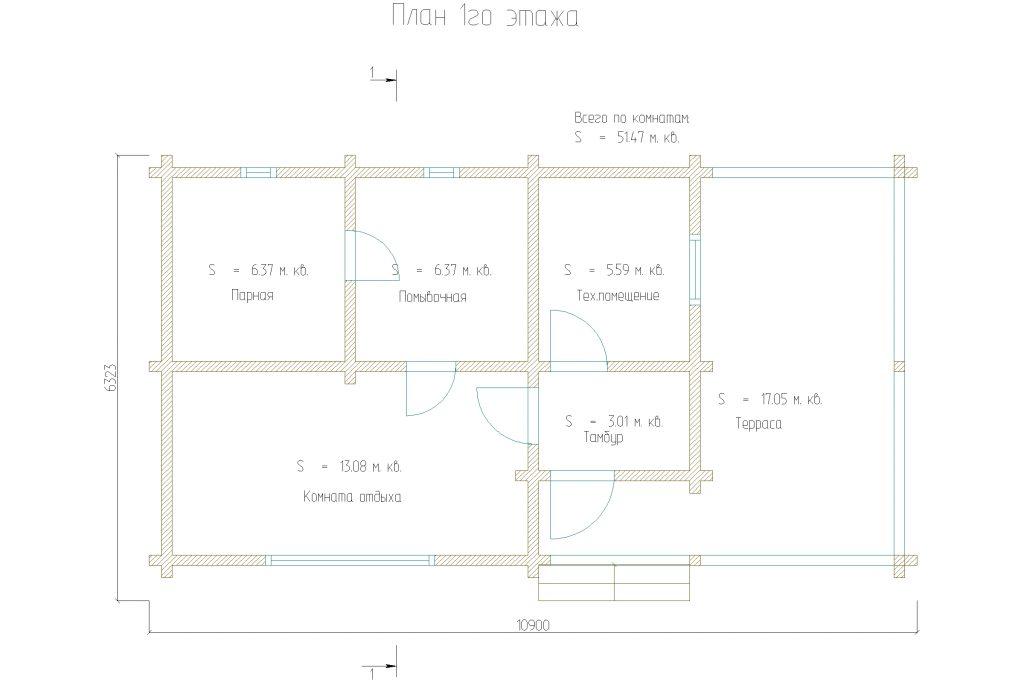 Проект 59 баня 51м2 брус 150х150