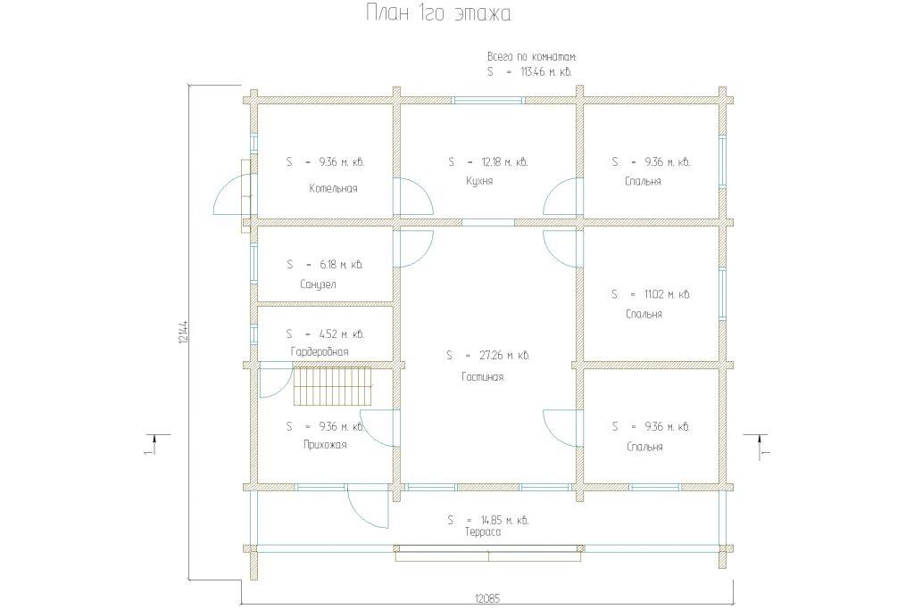 Проект 277 дом 160м2 брус 180х180