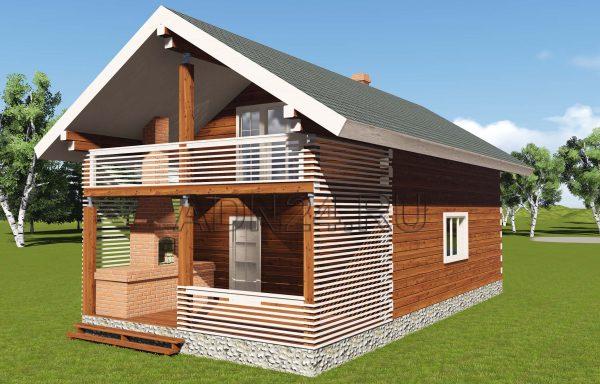 Дом баня 122м2 из бруса 220х180 — проект 451
