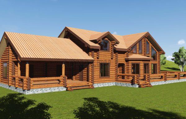 Двухэтажный дом 370м2 из бревна 300мм — проект 440