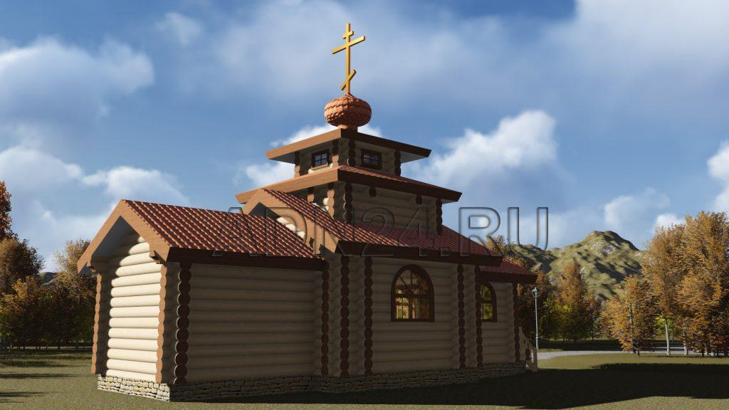 Проект 320 церковь 48м2 бревно 300