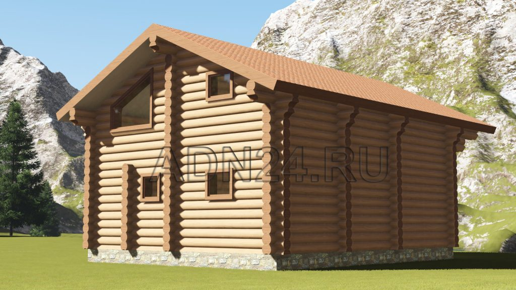 Проект 485 дом 160м2 бревно 320м2