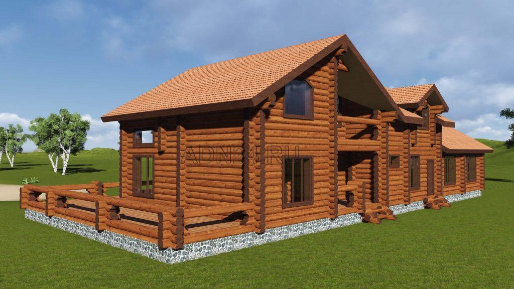 Проект 440 дом 370м2 бревно 300