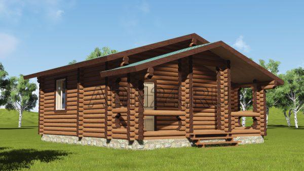Проект одноэтажного дома на 40м2 из оцилиндрованного бревна 220мм