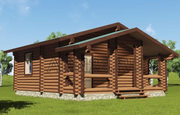 Одноэтажный дом на 41м2 из бревна 220мм — проект 72