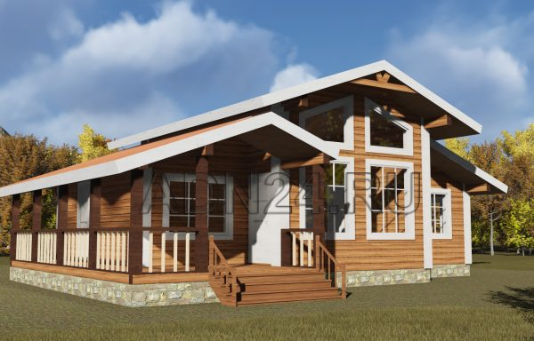 Одноэтажный дом 89м2 из бруса 180х180 — проект 535