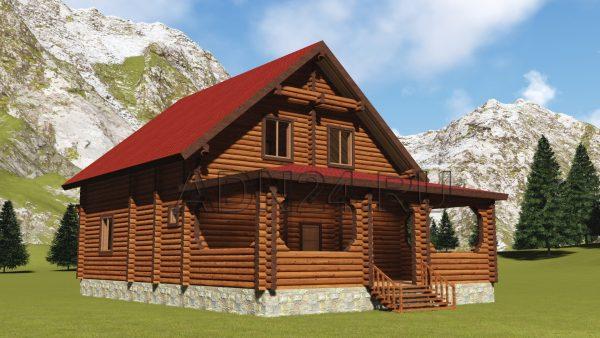 Проект двухэтажного дома с тремя спальнями бревно 200мм