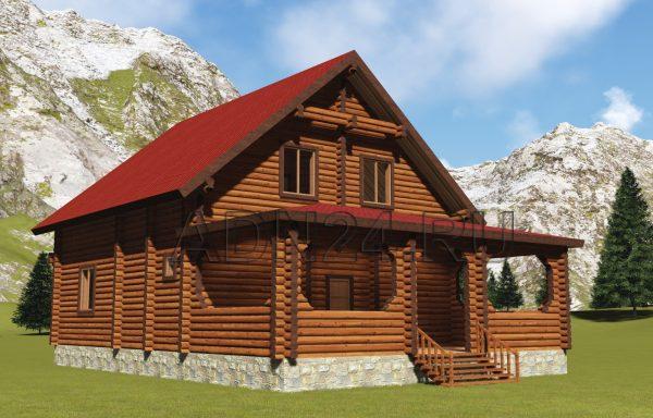 Двухэтажный дом на 180м2 из бревна 200мм — проект 37