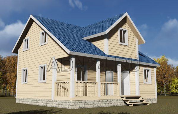 Двухэтажный дом 119м2 из бруса 180х180 — проект 79