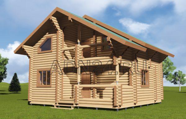 Двухэтажный дом 96м2 из бревна 220мм — проект 95