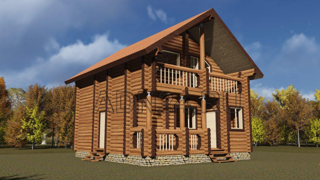 Проект 124 дом 90м2 бревно 240