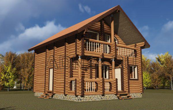 Двухэтажный дом 90м2 из бревна 240мм — проект 124