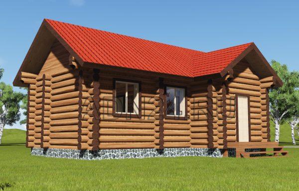 Одноэтажный дом 34м2 из бревна 280мм — проект 127