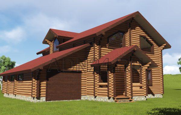 Двухэтажный дом 203м2 из бревна 220мм — проект 154