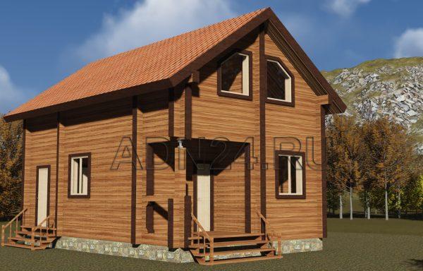 Двухэтажный дом 78м2 из бруса 220х140 — проект 192