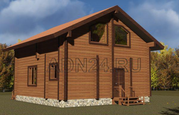 Двухэтажный дом 97м2 из бруса 180х180 — проект 195