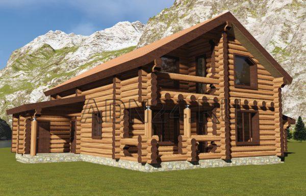 Двухэтажный дом на 240м2 из бревна 340мм — проект 274