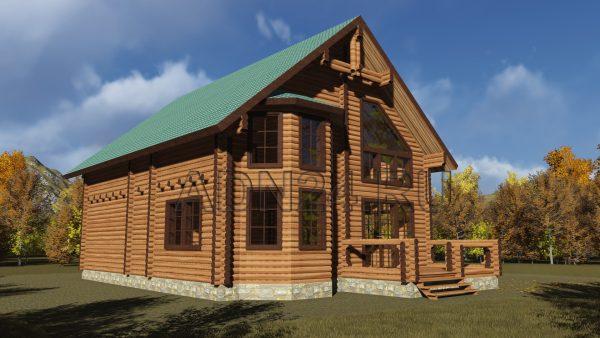 Проект двухэтажного дома на 220м2 из оцилиндрованного бревна