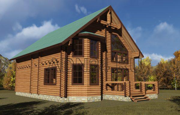 Двухэтажный дом на 220м2 из бревна 220мм — проект 48