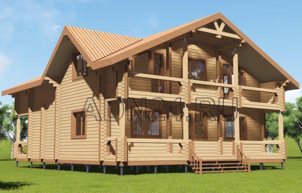Двухэтажный дом 237м2 из бруса 180х180 — проект 281