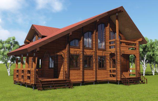 Двухэтажный дом 212м2 из бруса 180х180 — проект 285