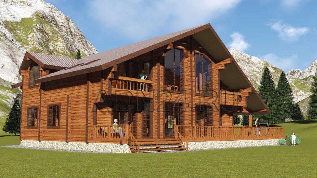 Проект 291 дом 350м2 брус 200х240