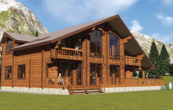 Двухэтажный дом 350м2 из бруса 200х240 — проект 291