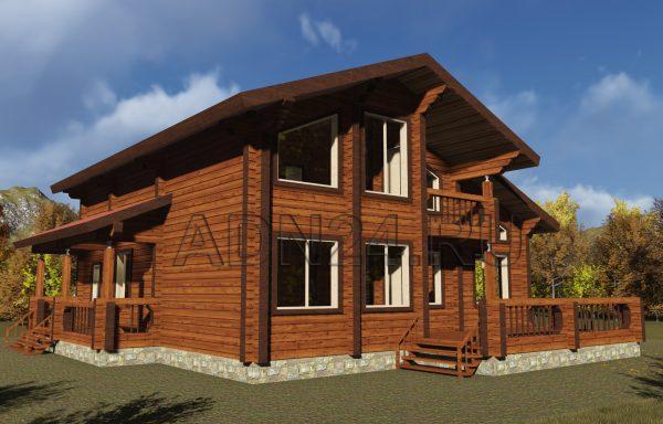Двухэтажный дом 205м2 из бруса 220х180 — проект 306