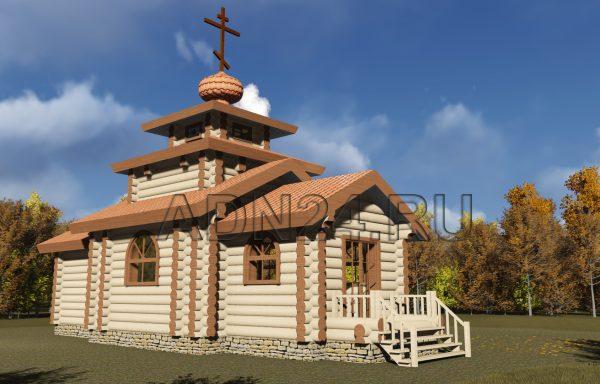 Церковь 48м2 из бревна 300мм — проект 320