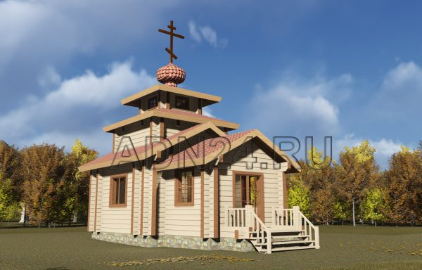 Церковь 38м2 из бруса 200х200 — проект 629