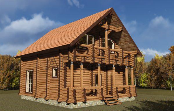 Двухэтажный дом 126м2 из бревна 240мм — проект 386