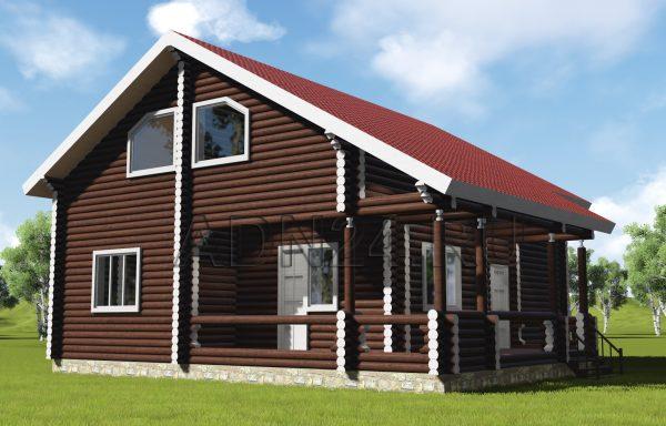 Двухэтажный дом 182м2 из бревна 200мм — проект 427