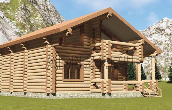 Двухэтажный дом 160м2 из бревна 320мм — проект 485