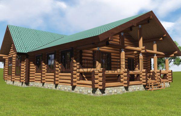 Одноэтажный дом 150м2 из бревнао 280мм — проект 565